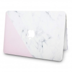 KECC MacBook Air Kapak Kılıf (Retina 13.3 inç)(2018)-White Marble with Pink