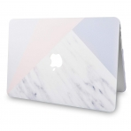KECC MacBook Air Kapak Kılıf (Retina 13.3 inç)(2018)-White Marble with Pink Grey