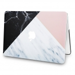 KECC MacBook Air Kapak Kılıf (Retina 13.3 inç)(2018)-White Marble with Pink Black