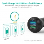 RAVPower Hızlı Şarj 3.0 Araç Şarj Cihazı-Black