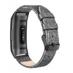 SWEES Fitbit Charge 3 Deri Kayış (Small)-Glitter Black