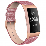 SWEES Fitbit Charge 3 Deri Kayış (Small)-Glitter Pink