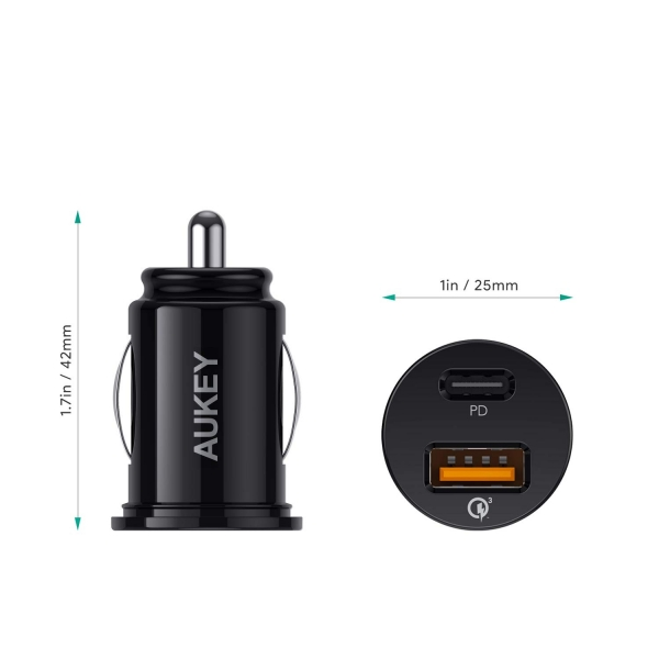 AUKEY CC-Y11 USB C PD Araç Şarj Cihazı