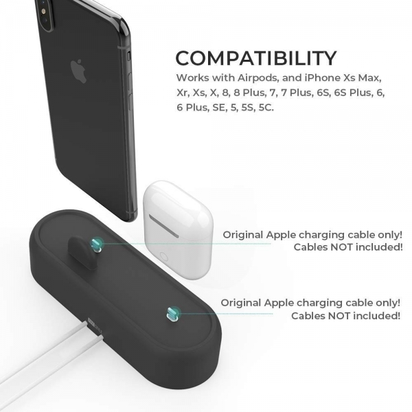 AhaStyle Apple Airpods/iPhone Silikon Şarj Standı-Black