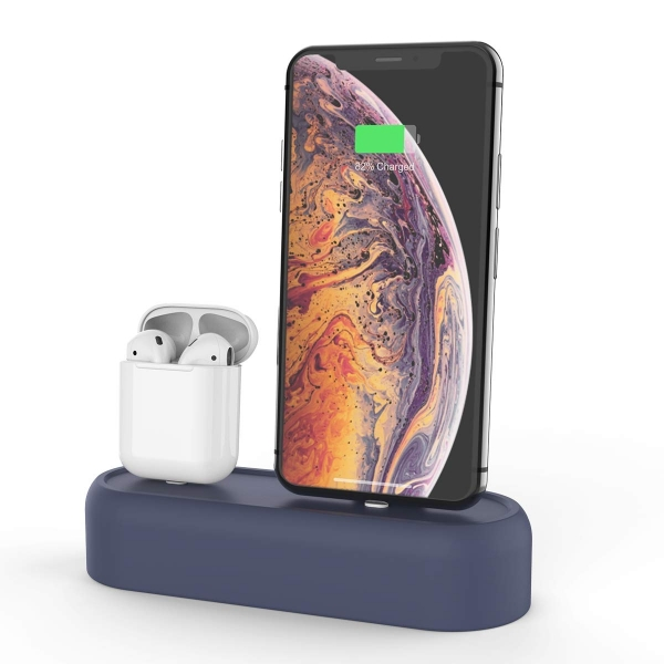 AhaStyle Apple Airpods/iPhone Silikon Şarj Standı-Navy