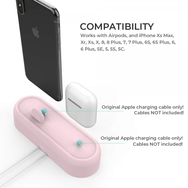 AhaStyle Apple Airpods/iPhone Silikon Şarj Standı-Pink
