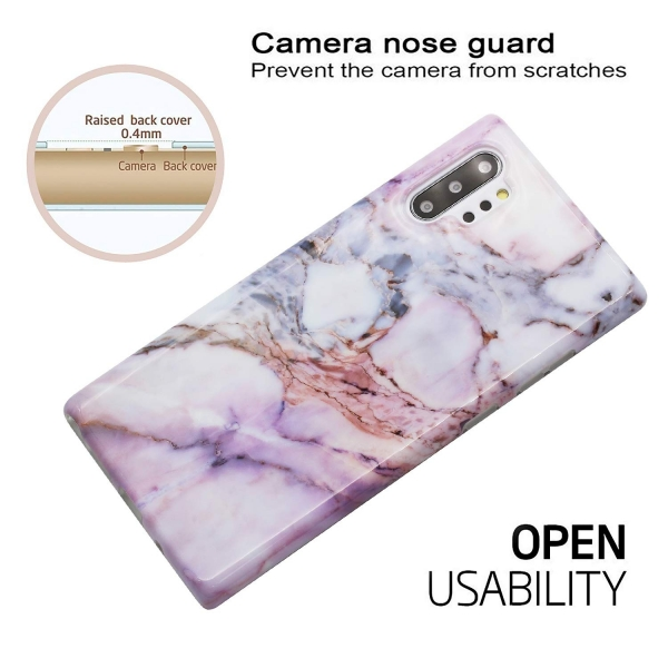 BAISRKE Samsung Galaxy Note 10 Plus Mermer Desenli Kılıf-Purple