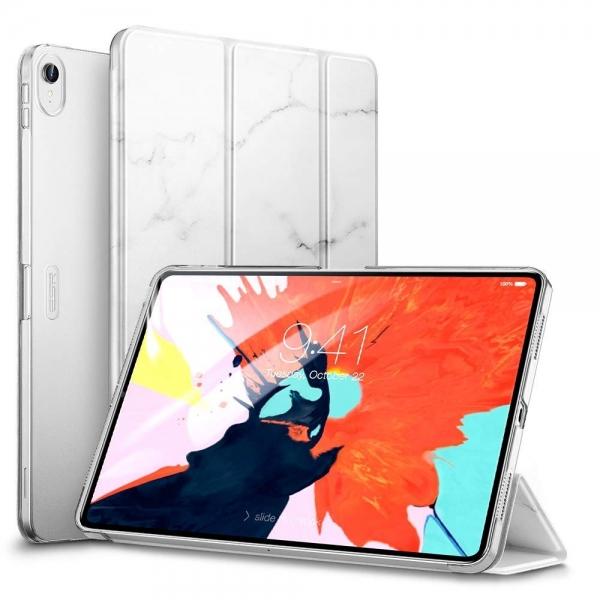 ESR iPad Pro Mermer Desenli Standlı Kılıf (11 inç)-White Marble