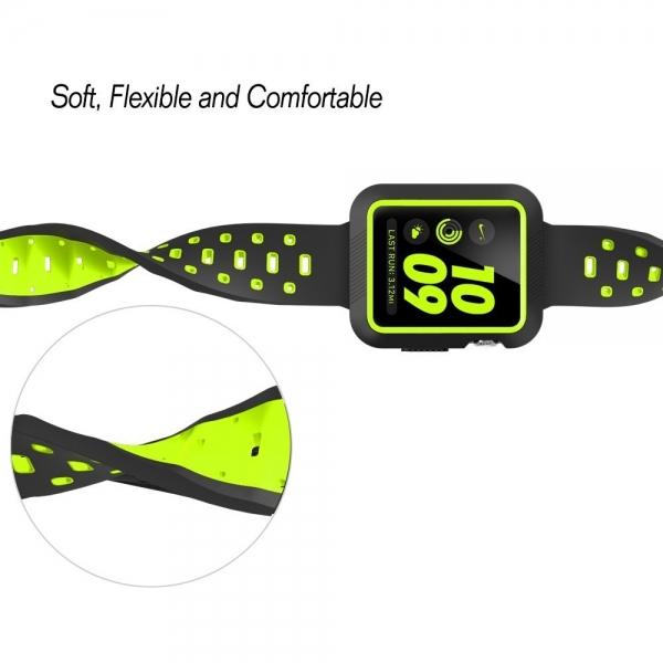 EloBeth Apple Watch Kılıf Kayış (42mm)-Black-Green