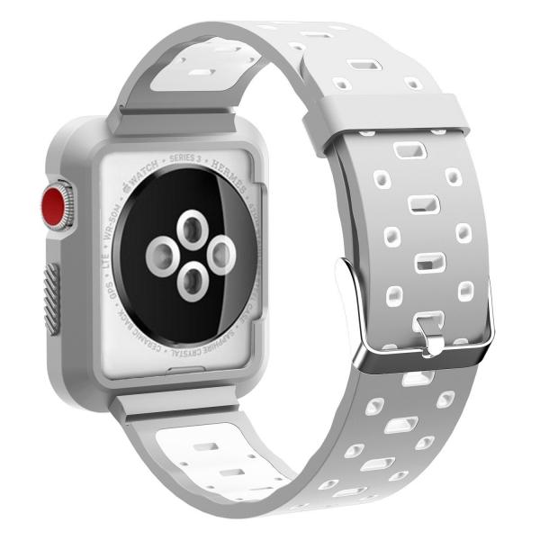EloBeth Apple Watch Kılıf Kayış (42mm)-Grey-White