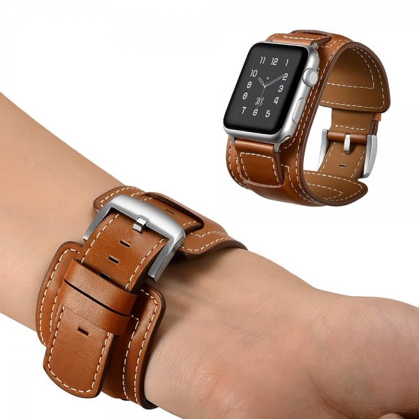 Elobeth Apple Watch Deri Kayış (38mm/40mm)-Brown