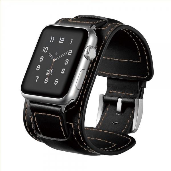 Elobeth Apple Watch Deri Kayış (44mm/42mm)-Black