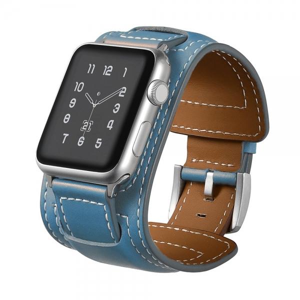 Elobeth Apple Watch Deri Kayış (44mm/42mm)-Blue