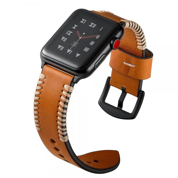 Elobeth Apple Watch Deri Kayış (44mm/42mm)-Brown
