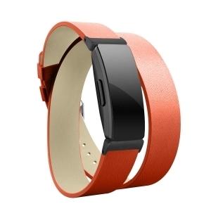Elobeth Fitbit Inspire HR Deri Kayış (Small)-Orange