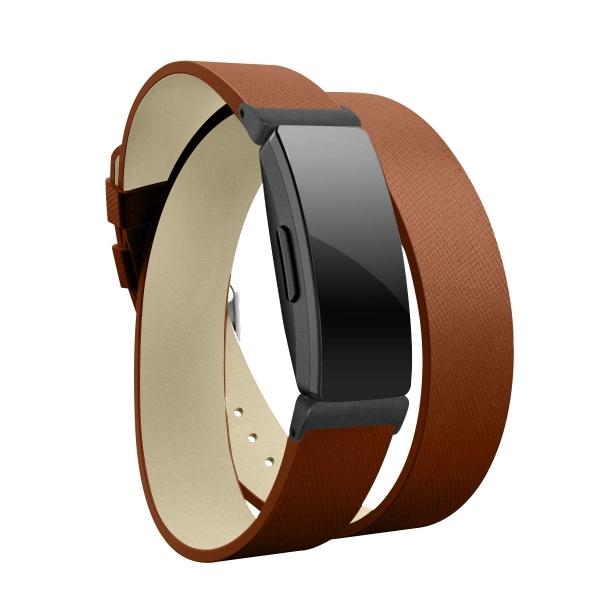 Elobeth Fitbit Inspire HR Deri Kayış (Large)-Brown