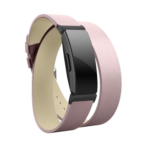 Elobeth Fitbit Inspire HR Deri Kayış (Small)-Pink