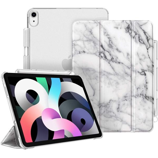 Fintie iPad Air 4 Kalem Bölmeli Kılıf (10.9 inç)-Z-Marble White
