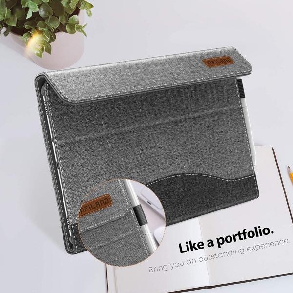 Infiland Galaxy Tab S5e Kalem Bölmeli Kılıf-Gray