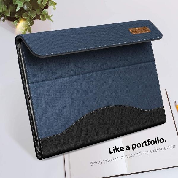 Infiland Galaxy Tab S7 Plus Business Standlı Kılıf (12.4 inç)-Navy