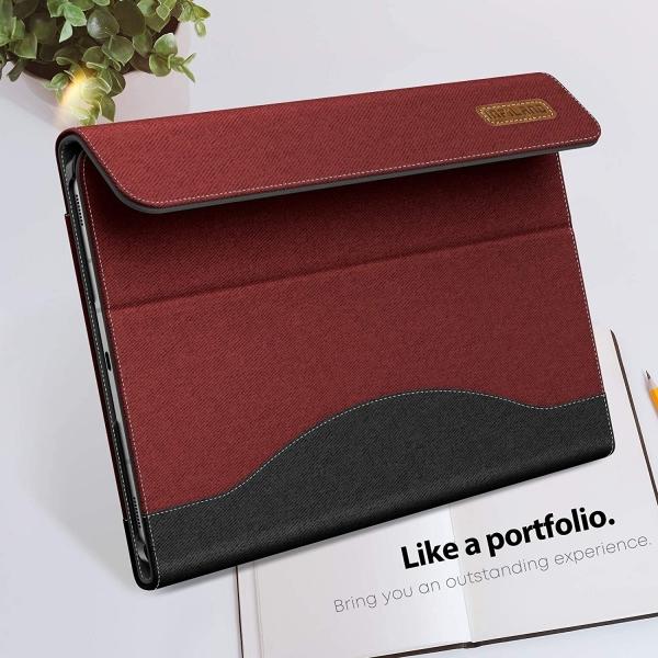Infiland Galaxy Tab S7 Plus Business Standlı Kılıf (12.4 inç)-Dark Red