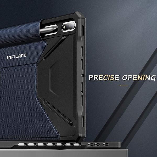 Infiland Galaxy Tab S7 Plus Standlı Kılıf (12.4 inç)-Navy