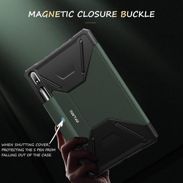 Infiland Galaxy Tab S7 Plus Standlı Kılıf (12.4 inç)-Midnight Green
