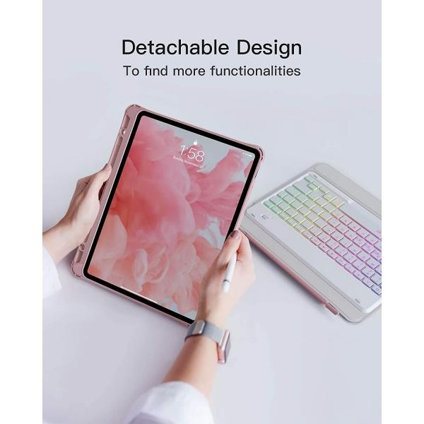 Inateck iPad Pro Aydınlatmalı Klavyeli Kılıf (11 inç)-Pink