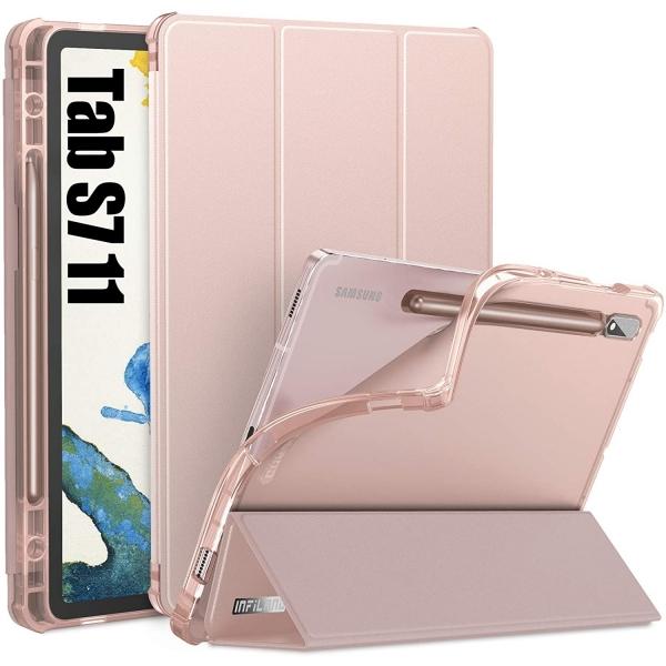 Infiland Galaxy Tab S7 Kalem Bölmeli Kılıf (11 inç)-Rose Gold