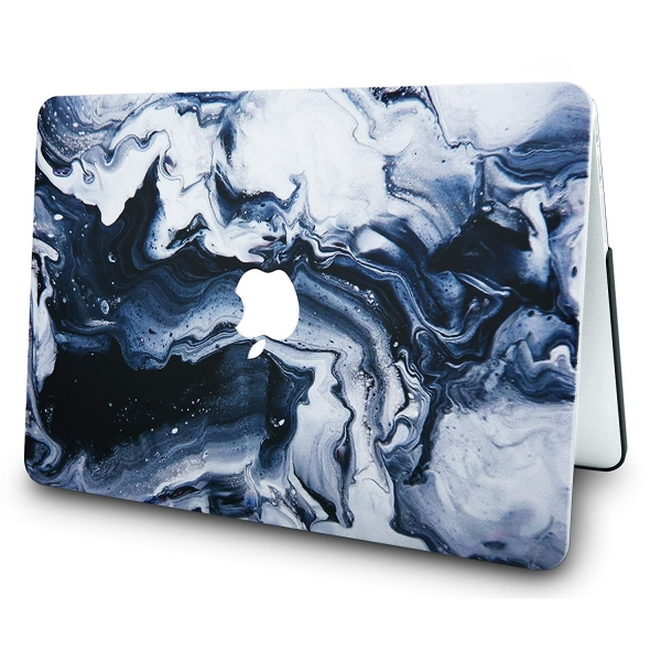 KECC MacBook Air Kapak Kılıf (Retina 13.3 inç)(2018)-Black Grey Marble