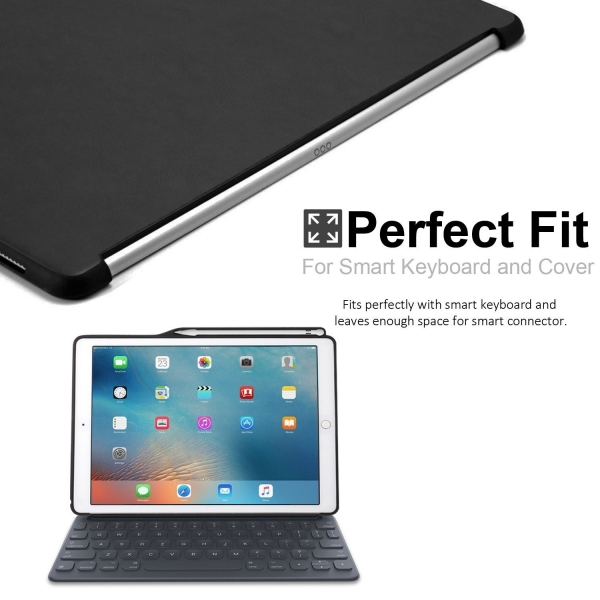 KHOMO iPad Pro Kalem Bölmeli Kılıf (12.9 inç)-Leather Black