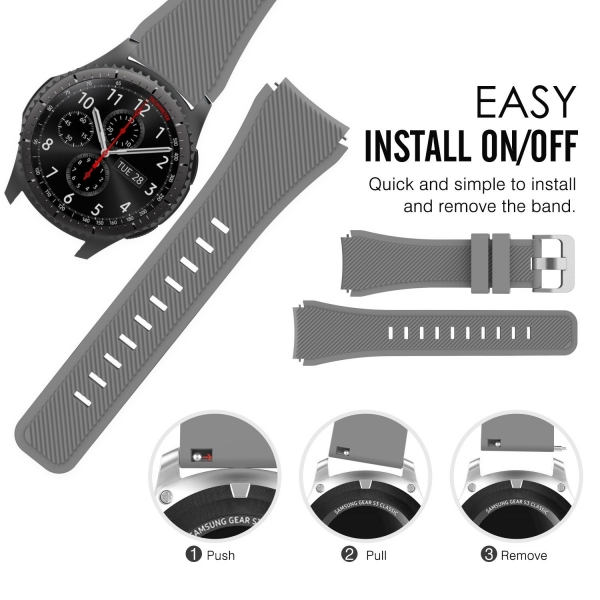 MoKo Samsung Gear S3 Soft Silikon Kayış-Gray