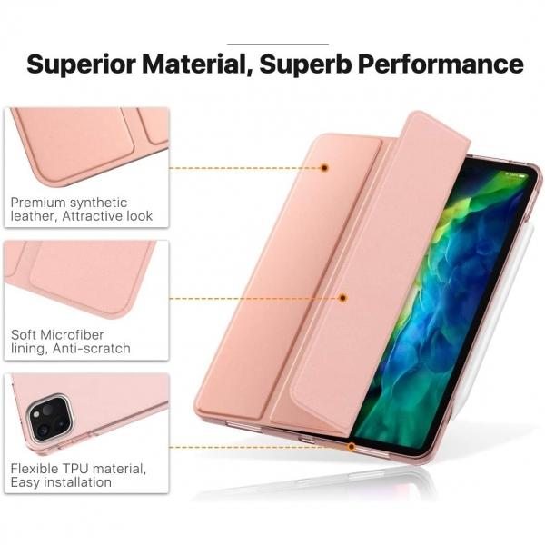 Moko iPad Pro Standlı Kılıf (11 inç)(2.Nesil)-Rose gold