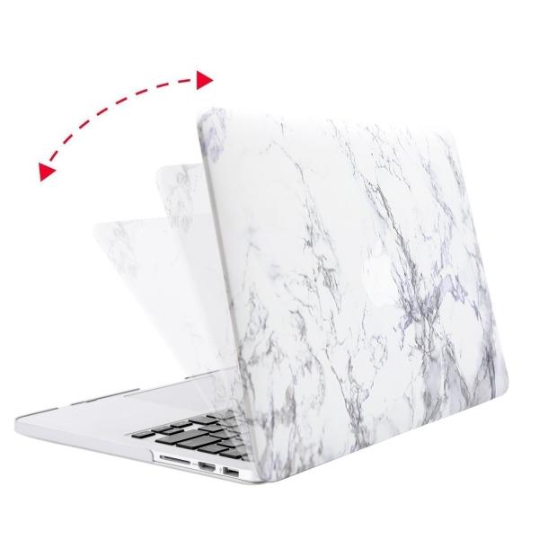 Mosiso Macbook Pro Retina Mermer Desenli Kılıf (15.4 inç)-White Marble