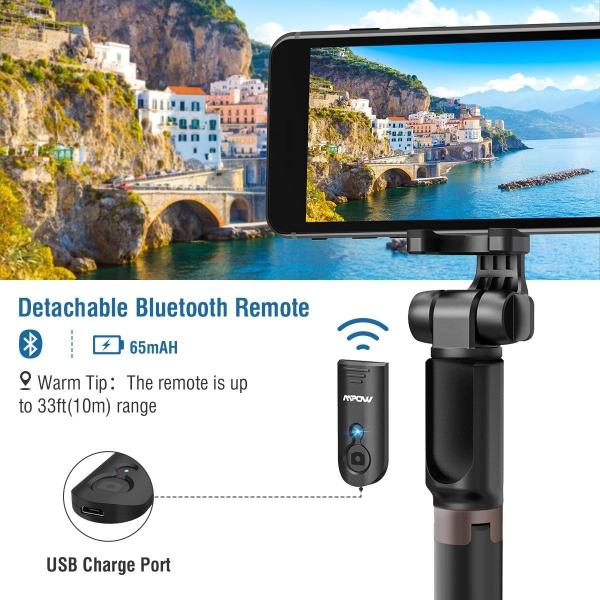 Mpow Bluetooth Selfie Çubuğu/Tripod (2. Nesil)-Black