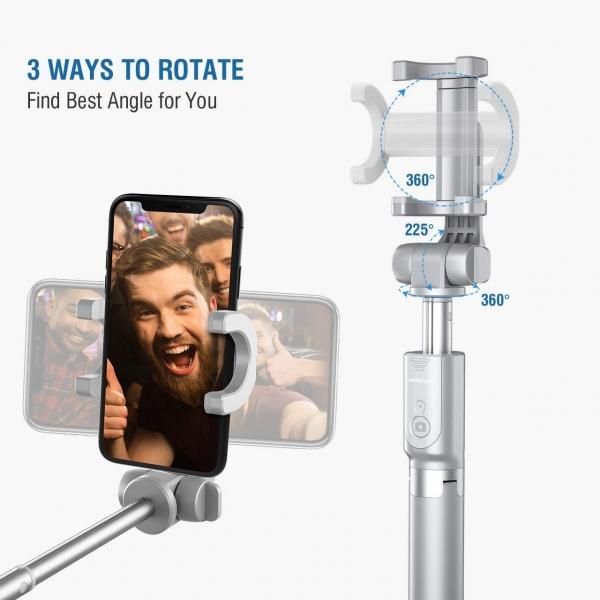 Mpow Bluetooth Selfie Çubuğu/Tripod (2. Nesil)-Gray