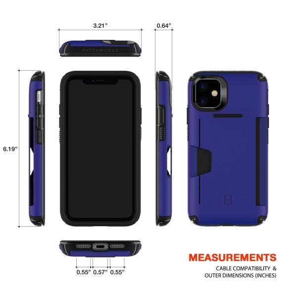 Patchworks Apple iPhone 11 Level Cüzdan Kılıf (MIL-STD-810G)-Blue