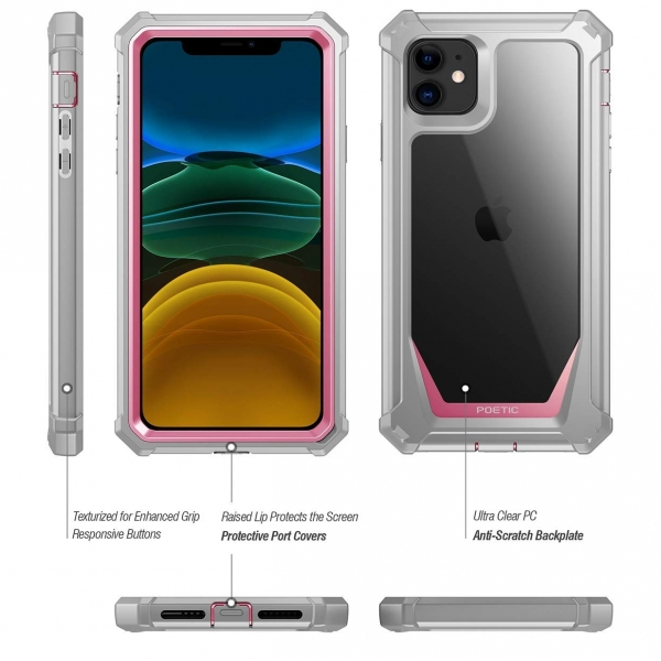 Poetic iPhone 11 Guardian Serisi Kılıf (MIL-STD 810G)-Pink