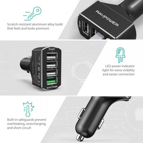 RAVPower 4 Portlu QC 3.0 Araç Şarj Cihazı