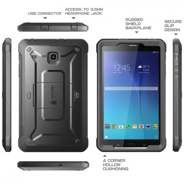 SUPCASE Samsung Galaxy Tab E Unicorn Beetle PRO Seri Kılıf (8.0 inç)-Black