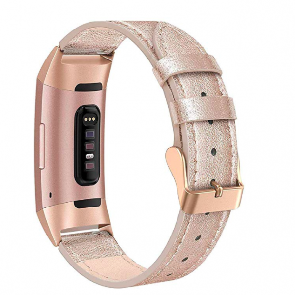 SWEES Fitbit Charge 3 Deri Kayış (Large)-Rose Gold
