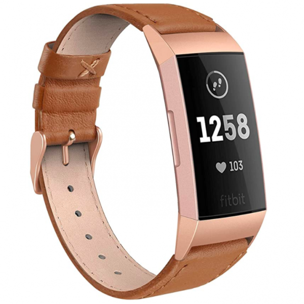 SWEES Fitbit Charge 3 Deri Kayış (Large)-Classic Brown