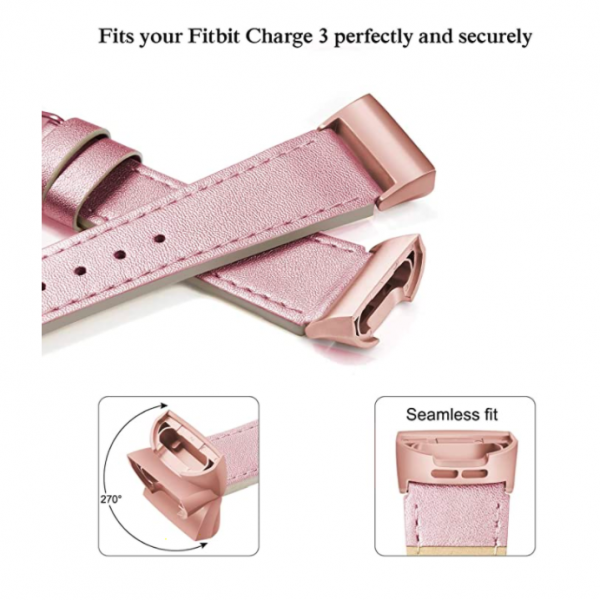 SWEES Fitbit Charge 3 Deri Kayış (Small)-Rose Pink