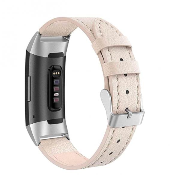 SWEES Fitbit Charge 3 Deri Kayış (Small)-Beige