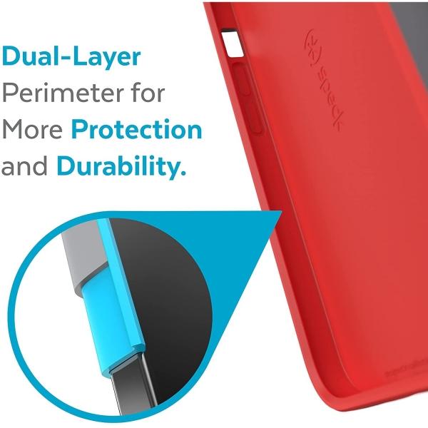 Speck iPhone 13 Pro Max CandyShell Pro Serisi Kılıf (MIL-STD-810G)-Moody Grey/Turbo Red