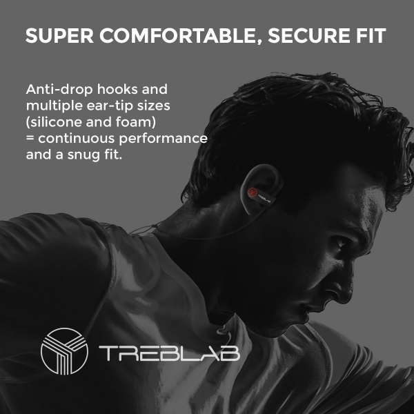 TREBLAB XR100 Bluetooth Kancalı Kulaklık-Black