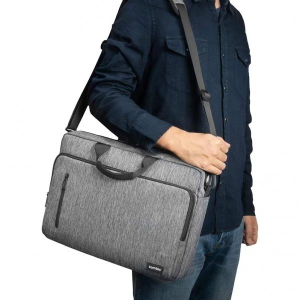 Tomtoc Apple Macbook Air/Pro Omuz Çantası (13.5 inç)-Grey