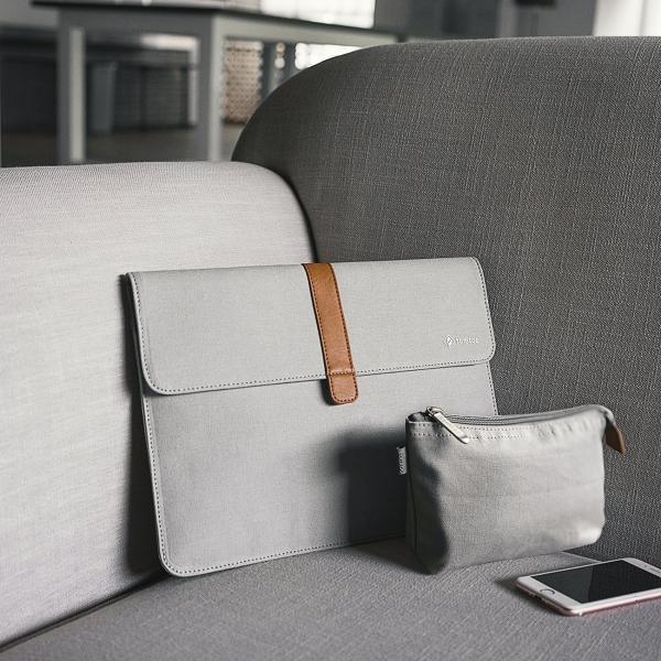 Tomtoc Apple MacBook Pro Aksesuar Çantalı Taşıma Çantası (13 inç)-Silver Gray