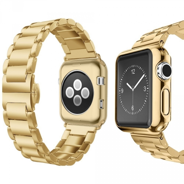 UMTELE Apple Watch Paslanmaz Çelik Kayış (38mm)-Gold
