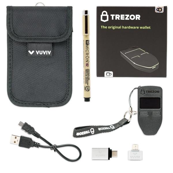 VUVIV Trezor Bitcoin Wallet Seti-Black